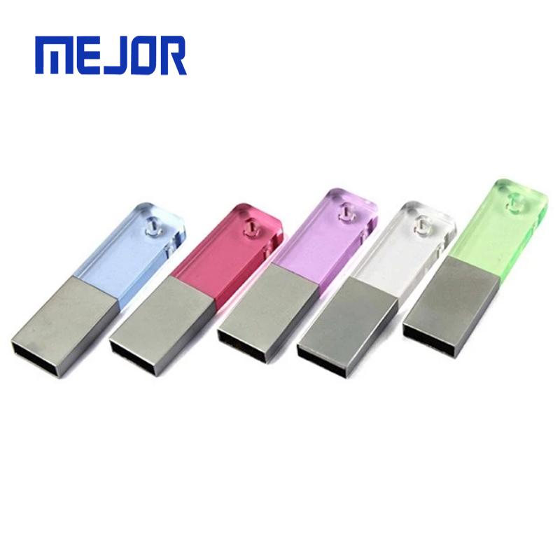 Advertising colorful acrylic custom 3D LED light Logo pen drives matte case 16gb crystal USB flash drive - USBSKY   USBSKY.NET
