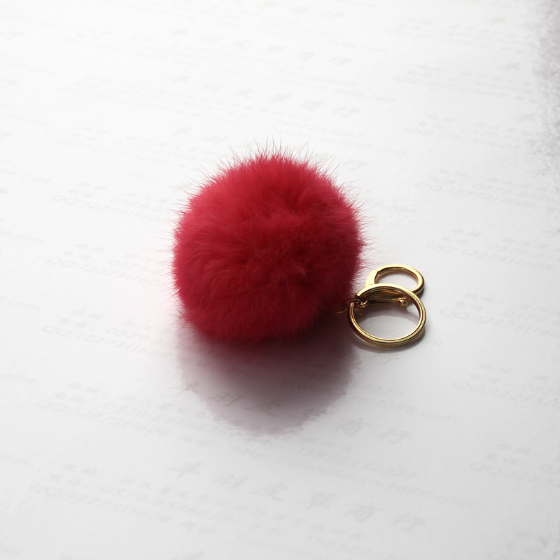 Gold Plated Keychain Charm Genuine Rabbit Fur Ball Pom Pom Keychain for Car Key Ring Handbag