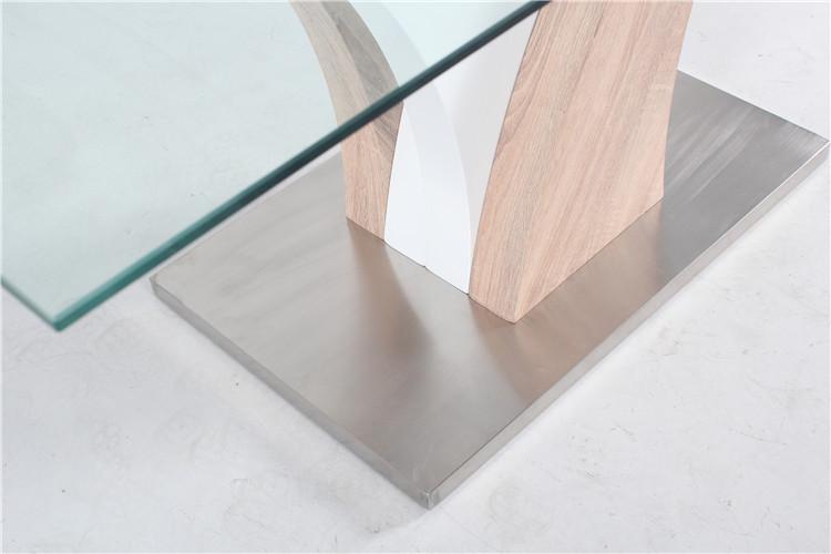 bases de madera muebles mesa comedor de cristal y sillas para