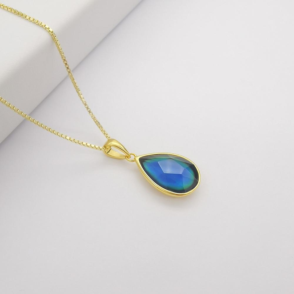 Восхитительные ювелирные изделия из стерлингового серебра с разноцветными кристаллами, подвески меняющие цвет настроения, температуры, эмоций, ощущения, настроения