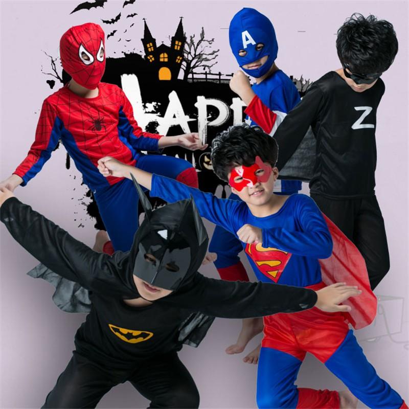 cd23493be7356 Halloween Superhero Cosplay Costume For Kids Spiderman Superman Batman  Captain America Zorro Altman Costume Child Part Wear
