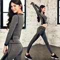 Fall Women Yoga Sets Fitness Sports Elastic Breathable Suit Ladies Gym Running Workout Clothes Tops Shirts