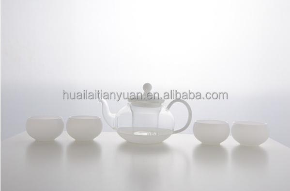 China factory modern designed clear glass teapot silver tea set