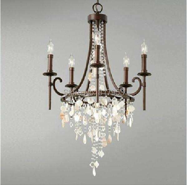 Dining Room Lighting Ikea: 6 Bulbs American Village Antique Crystal Chandelier