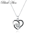 [BLACK AWN] 3.4g Genuine 925 Sterling Silver Jewelry Timeline Necklace for Women Black Stone Heart Necklaces Pendants P174