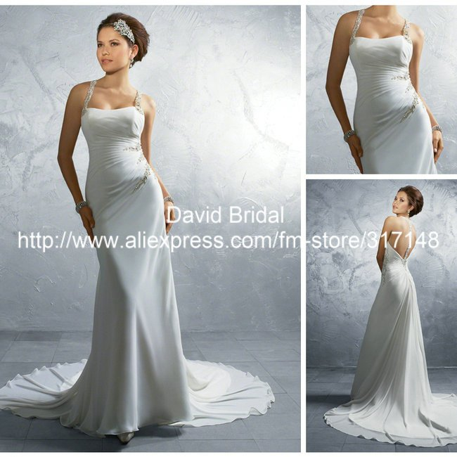 Beaded Sexy Backless Chiffon Wedding Dresses Halter Top ...Halter Top Backless Wedding Dresses