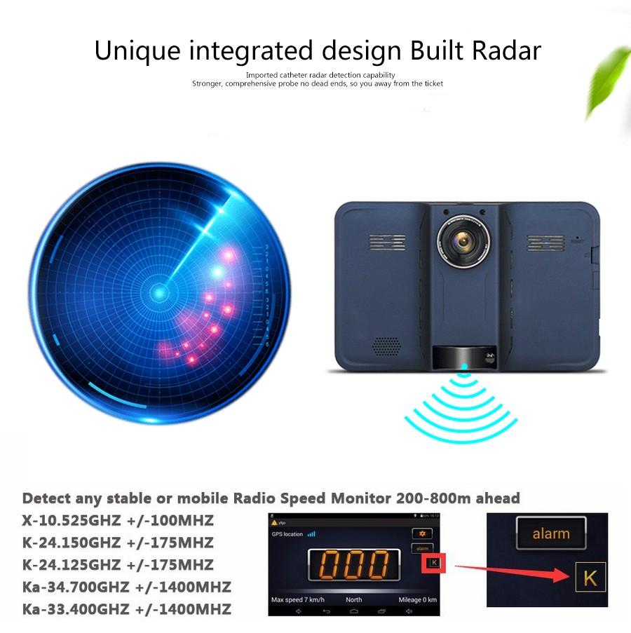2015 חדש 7 אינץ אנדרואיד ניווט GPS אחורית גלאי רדאר לרכב DVR המכונית 1080P משאית רכב gps נאבי אבין א/FM/מפה בחינם 16GB