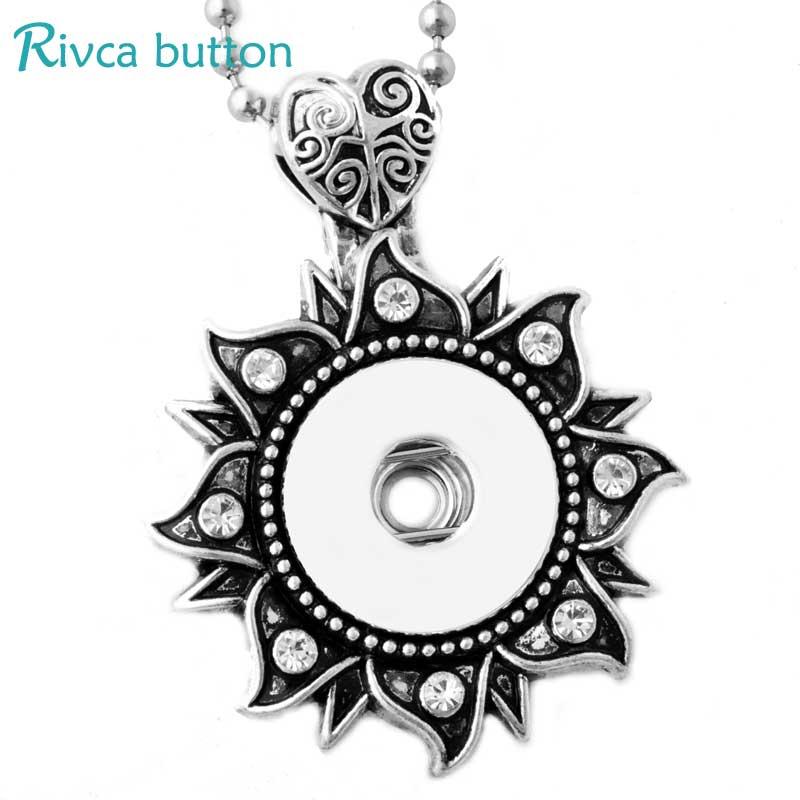 P00804 старинное серебро fit 18 или 20 мм кнопка DIY Rivca имбирь ювелирных металл цветок оснастки кнопку ожерелье подвески
