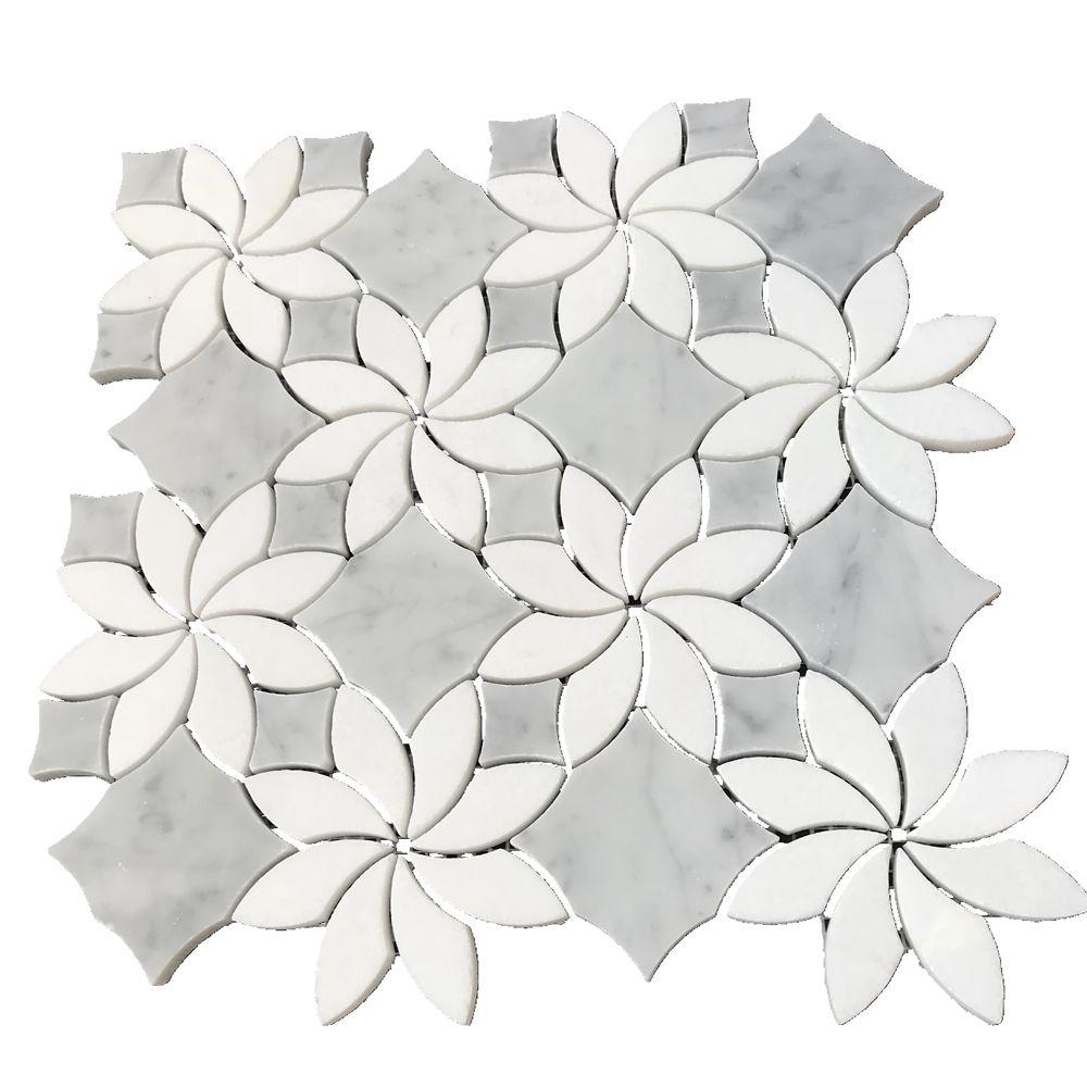 Leaf marble mosaic tile Marble leaf shape mosaic tile backsplash