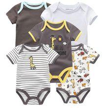 Детская одежда для мальчиков и девочек, 5 шт./лот, боди с единорогом для девочек 0-12 месяцев, 100% хлопок, 2020(Китай)