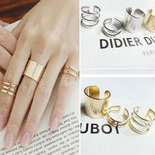 3 Pcs Punk ouro prata anéis Anillos Stack banda Plain Midi Mid dedo Knuckle anéis para as mulheres Anel de jóias