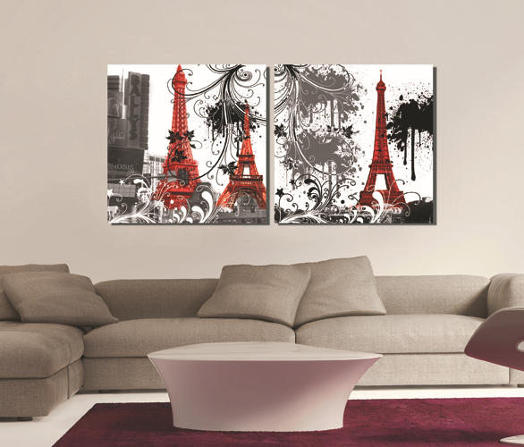 Home Goods Artwork: Canvas-Prints-2-Panels-Wall-Art-Set-Square-Paris-Eiffel
