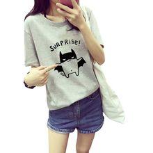 "2016 Women's Summer ""Surprise"" T-Shirt Lovely Bat Printed Short Sleeve Tops harajuku TQ"