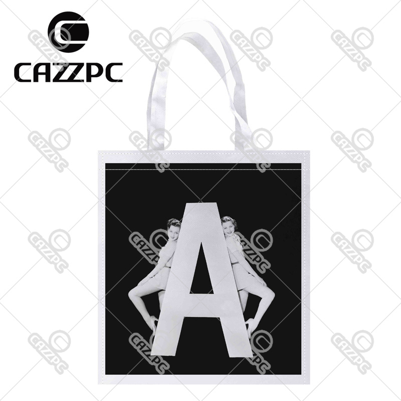 Black and white women with huge letter a print individual for Supermarket bag packing letter template