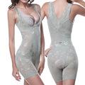 Ladies Firm Control Underbust Bodysuit Shapewear Women Jacquard Lace Full Body Shaper Thigh Trim