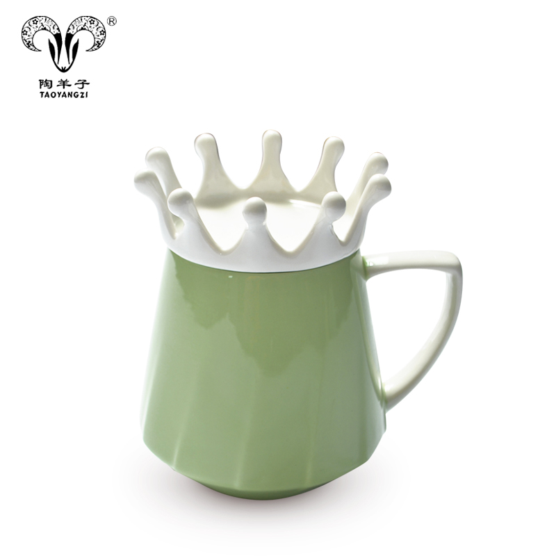 2021 hot sale custom Ceramic colorful Crown Couple Cup with cover 350ml