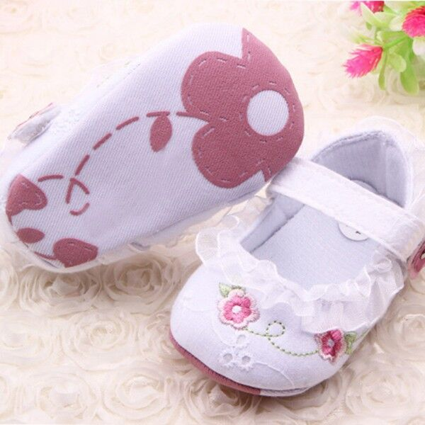 Infant Toddler Baby Girl First Walkers Floral Lace Prewalker Shoes Soft Sole Crib Shoes For