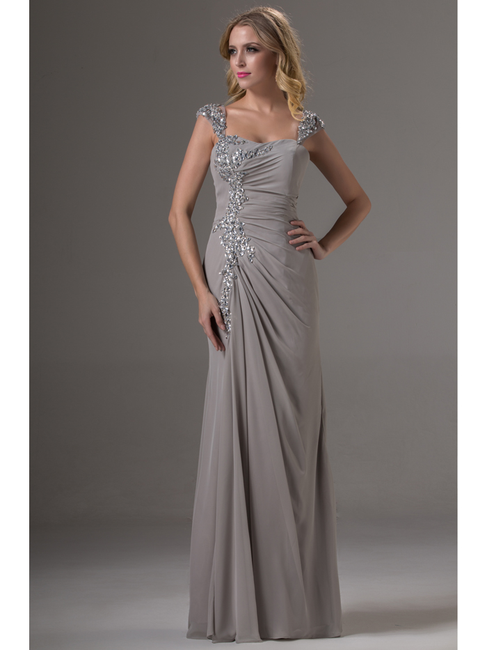 Grey Chiffon Bridesmaid Dresses Long