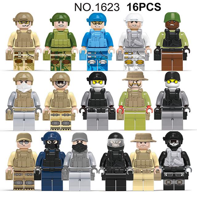 Фигурки, строительные блоки, военные спецназ, солдатики, Песочник, кирпичи, фигурки, оружие, оружие, спецназ, Совместимость с Legoe(Китай)