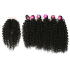 Noble high quality kinky synthetic curly hair bundle pack weaving synthetic blend hair bundles and closures