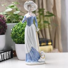 Керамические фигурки для женщин и девочек, предметы домашнего декора, декор для комнаты, милые украшения, фарфоровые фигурки, винтажная сад...(Китай)