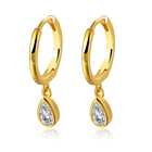Hot Peishang 925 Ster Silver 14K Gold Plated Small Zircon Water Droplets Shaped Earrings