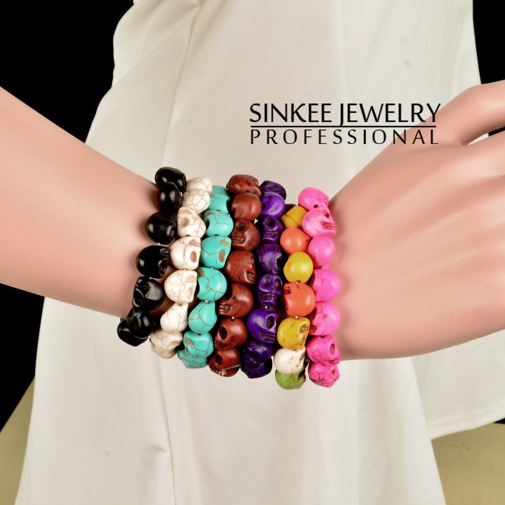 Sinkee бирюза череп браслеты для мужчины женщины ювелирные изделия 7 цветов XB014