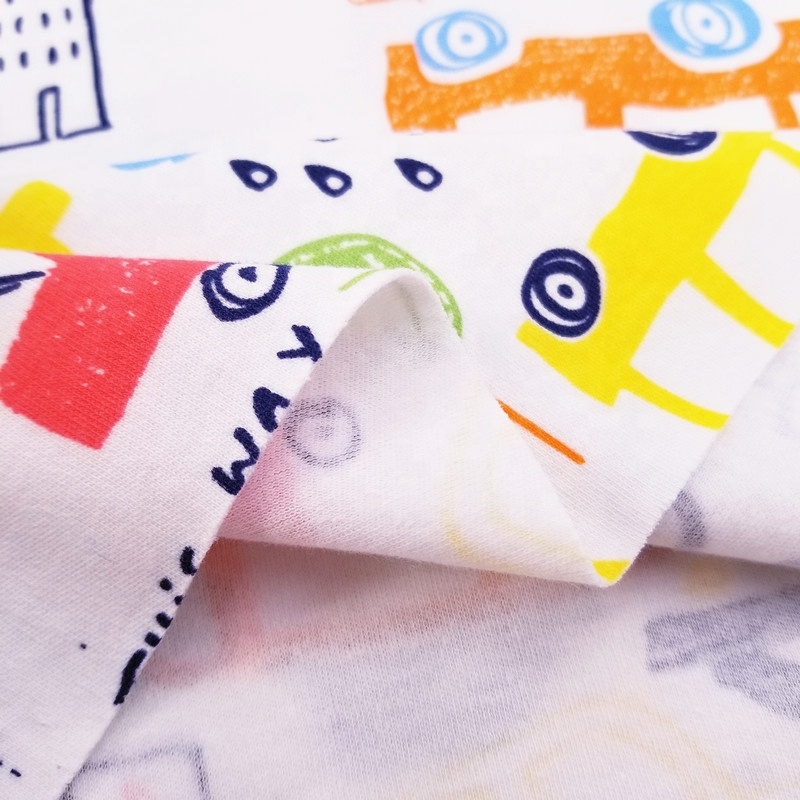 Cartoon print baby 100% cotton knitted jersey interlock fabric wholesale