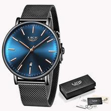 Женские кварцевые часы LIGE, ультратонкие водонепроницаемые часы из нержавеющей стали с сетчатым ремешком(China)