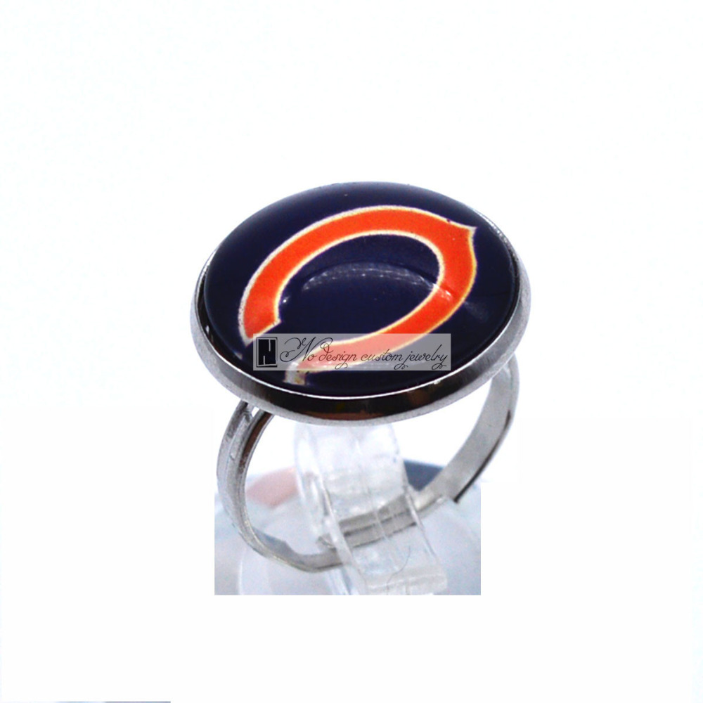 Cabochon Chicago Bears Sports Team Ring Round Glass Dome