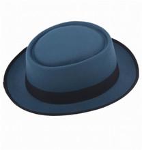 2016 moda unisex Fieltro Pork Pie hombres encrespado EDG Cap americano  europeo casquillos planos circular sombreros 71f3c0af82d