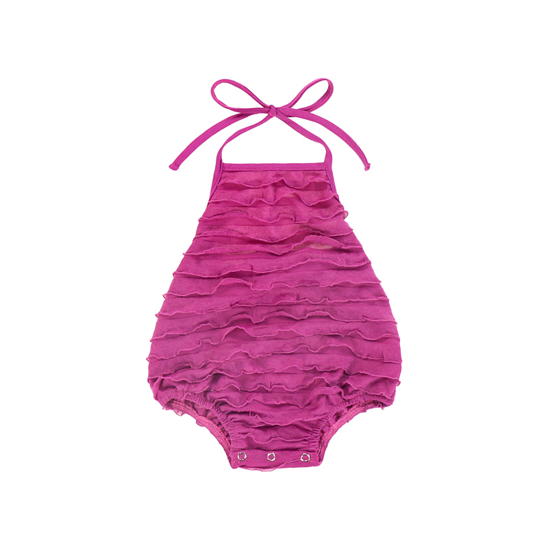 omasum shape baby clothes jumpsuit cute tie a knot closure baby jumpsuit plain summer sleeveless pink baby girl jumpsuit