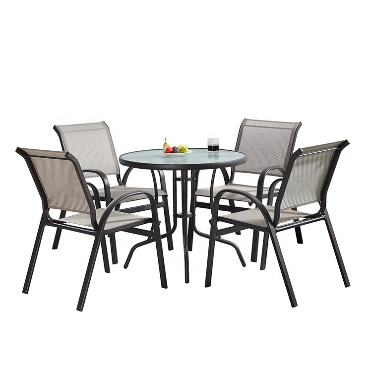 Promotion Outdoor Garden Furniture Aluminium Frame Glass Top Net Dining Table Set View Aluminium Garden Chair Love Rattan Product Details From Foshan Hanbang Furniture Co Ltd On Alibaba Com