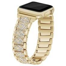 Для женщин бриллиантовый браслет ремешок для наручных часов Apple Watch, версии 5 4 3 2 1 класса люкс; со стразами; с металлическим ремнем ссылка 40/44/...(Китай)