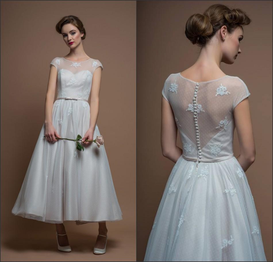 Elegant Long Sleeve Tea Length Wedding Dresses Simple: Designer Sheer Scoop Short Sleeves Applique Puffy Skirt