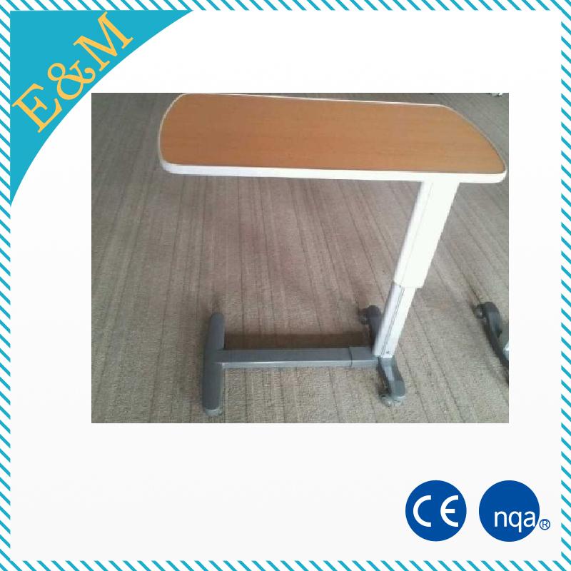Больничный медицинский стальной скатывающийся над кроватью/прикроватный столик с деревянной ламинированной поверхностью/колесами