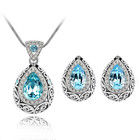 Women Party Jewelry Set Austria Crystal Rhinestone Pendant Necklace Stud Earring Set Teardrop Necklace Earrings Set