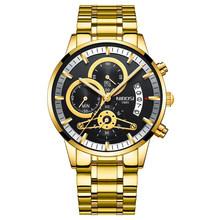 Мужские кварцевые часы NIBOSI, золотые, черные, Роскошные, брендовые, спортивные, водонепроницаемые, Relogio Masculino, 2020(Китай)