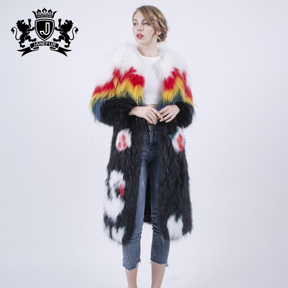 Women leather jacket with fur long women jacket winter raccoon fur coat