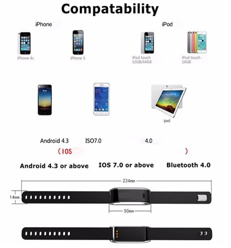 Tw07 Smart Wrist Band Bluetooth 4 0 Water Proof Sport
