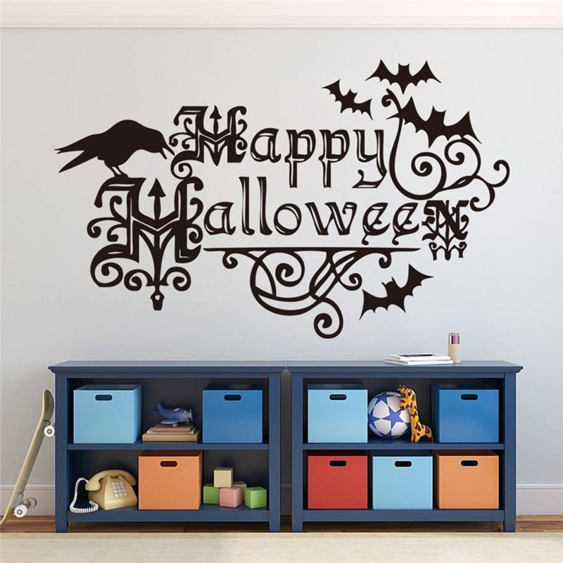 Halloween Wall Decals Monochrome Adesivos De Parede Kids Bedroom Wallstickers Decor Waterproof Solid Halloween Wall Decals & Halloween Wall Decals Monochrome Adesivos De Parede Kids Bedroom ...