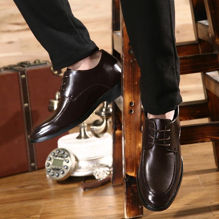 Мужские классические туфли из натуральной кожи, нескользящая резиновая подошва, увеличивающая рост