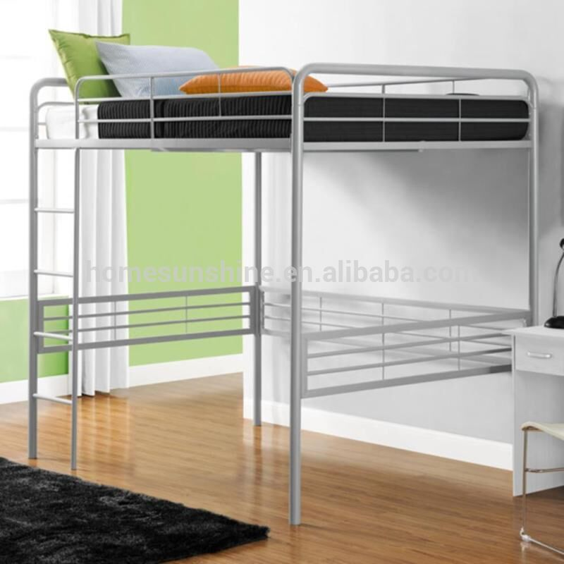 Full Size Metal Frame Loft Bed With Built In Ladder Slat System Silver Finish Buy Loft Bed With Slide Metal Double Loft Bed Metal Frame Bunk Beds Product On Alibaba Com