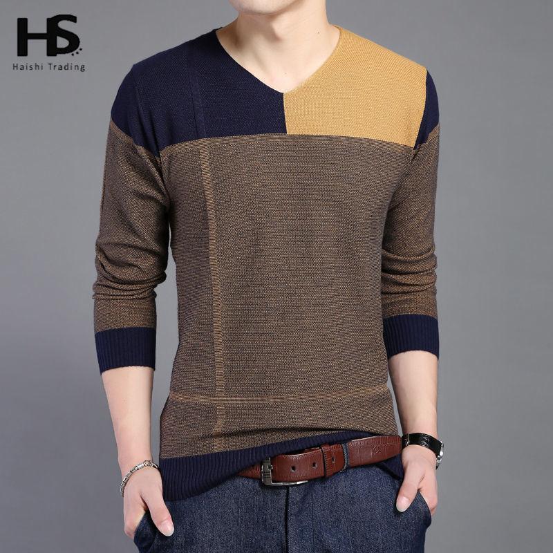 hot sale long sleeve sweater shirt men v neck pullover men fashion patchwork pull homme spring. Black Bedroom Furniture Sets. Home Design Ideas