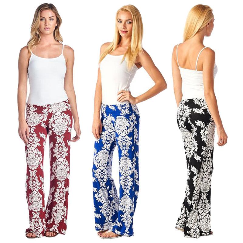 2018new Sueltos Cintura Alta Llamarada Pierna Ancha Con Estampado Floral Palazzo Largo Pantalones Para Las Mujeres Buy Pantalones Largos Para Mujer Pantalones Para Mujer Pantalones Boho Product On Alibaba Com