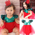 Cute Infant Baby Girl Sequins Romper Jumpsuit Tulle Tutu Sunsuit Outfits Costume