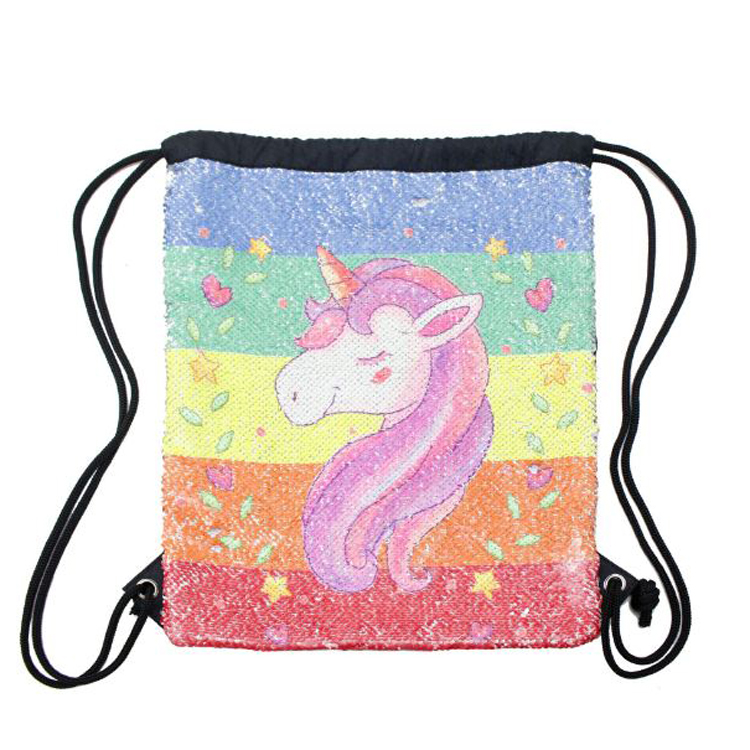 Custom Fashion Sequins Drawstring Pouch Polyester Bag Unicorn Magic rope Backpack