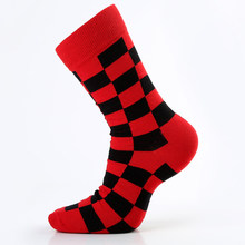 5 пара/лот, мужские носки из чесаного хлопка, веселые Компрессионные носки с разноцветными бриллиантами, большие размеры 39-46(Китай)