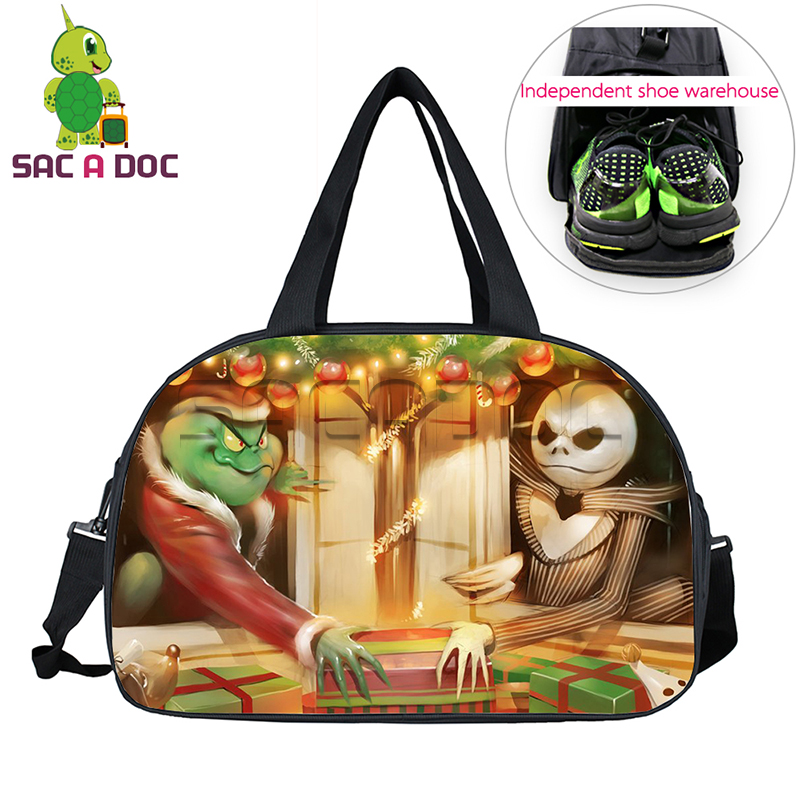 29632d2863d9 Ghost Rider Jack The Nightmare Before Christmas Crossover Travel Bag Large  Capacity Waterproof Duffle Bag Travel Shoulder Bags