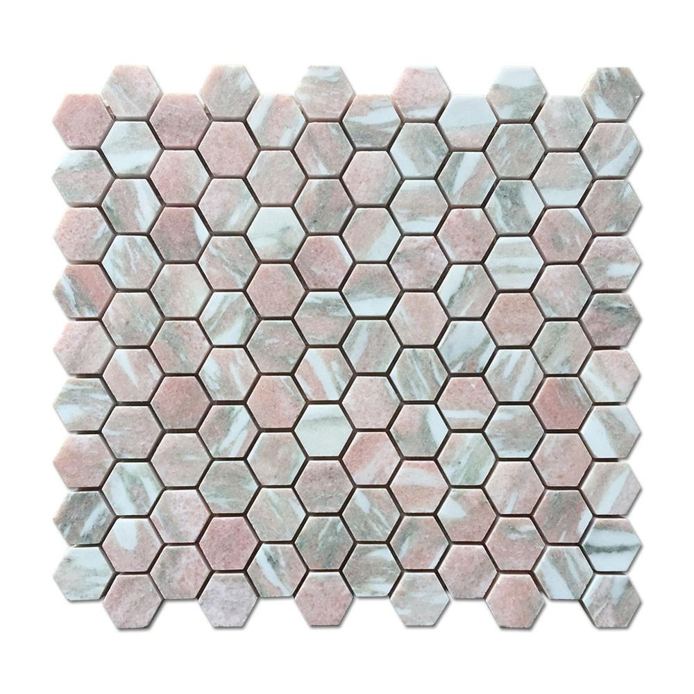soulscrafts norway rose pink marble mosaic hexagon pink mosaic buy hexagon mosaic tile pink marble mosaic norway rose marble mosaic product on